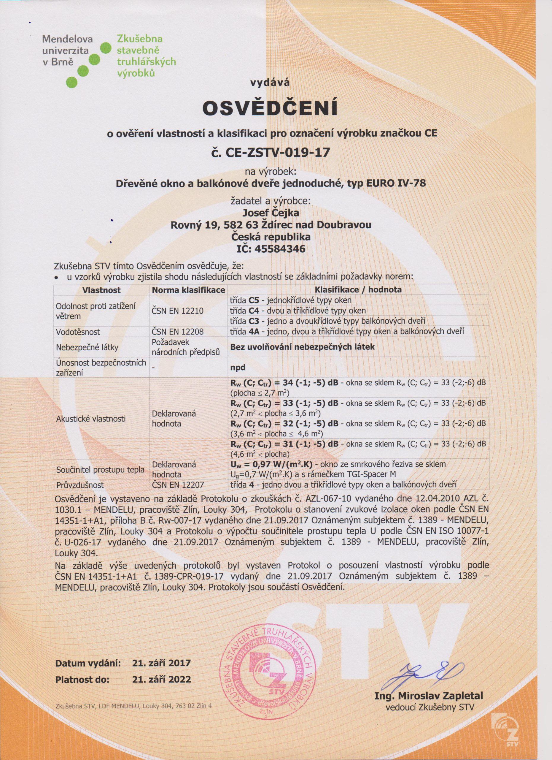 Certifikát Euro 78 001