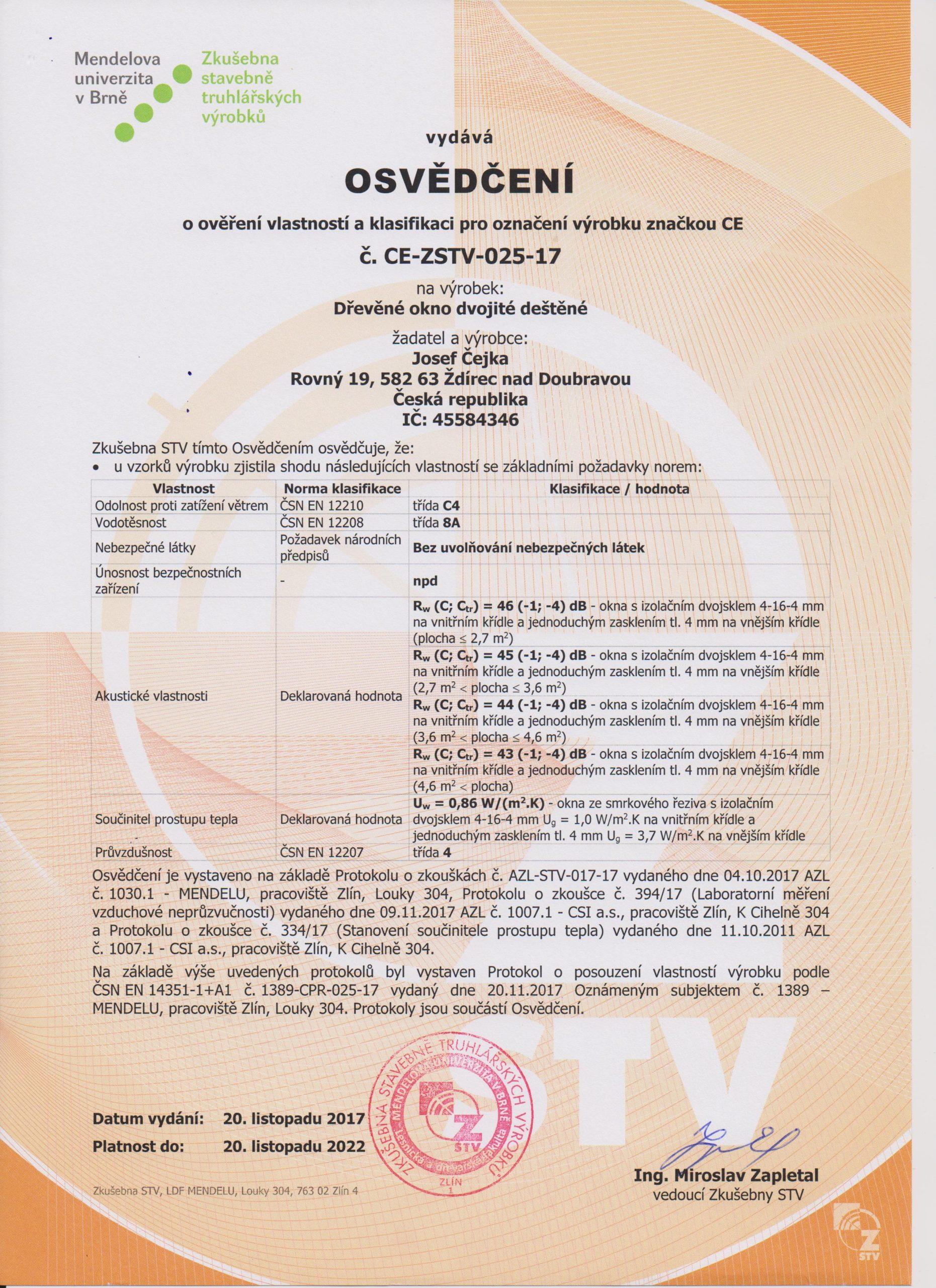 Certifikát ÜpaletovÚ okno 001