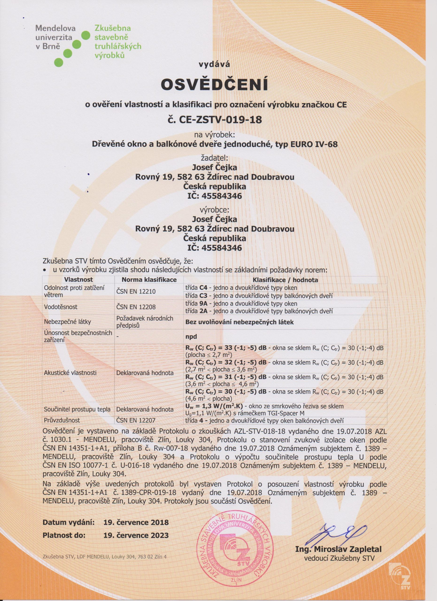 Certifikát euro 68 001